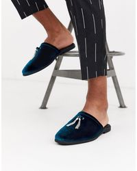 ASOS – Fersenlose Loafer aus petrolfarbenem Samt mit silberner Quastenverzierung - Blau