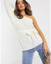 Missguided One Shoulder Balloon Sleeve Belted Sweater - White