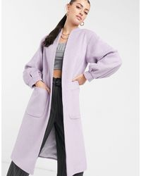Helene Berman Volume Sleeve Long Wool Blend Coat - Purple