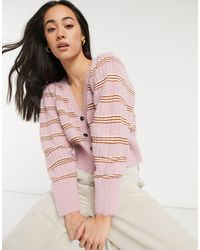 Lost Ink Relaxed Cardigan - Pink