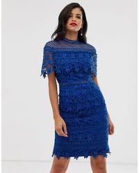Chi Chi London Lace High Neck Mini Dress - Blue