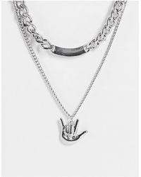 Bershka Серебристое Ожерелье С Двумя Цепочками И Подвеской -серебряный - Металлик
