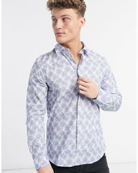 Paul Smith Tailored Printed Long Sleeve Shirt - White