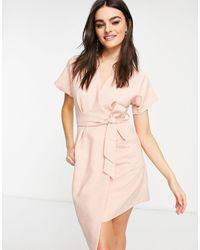 Closet Kimono Wrap Tie Mini Dress - Pink