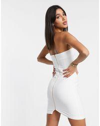 Vesper Bandeau Bodycon Midi Dress With Frill Detail - White