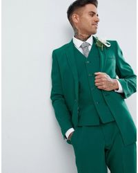 ASOS Wedding Skinny Suit Jacket With Square Hem In Forest Green