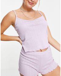 Lindex Exclusive Giggi Organic Cotton Pointelle Cami Short Set - Purple
