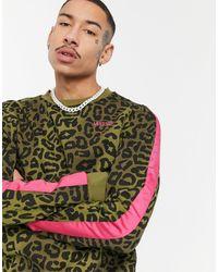 Wesc Miles - Sweat-shirt rayé motif camouflage léopard - Vert