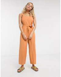 TOPSHOP Linen Jumpsuit With Tie Waist - Orange