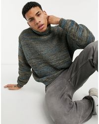 ASOS Knitted Oversized Rib Roll Neck Sweater - Multicolor