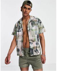 Jack & Jones Рубашка Свободного Кроя Из Трикотажа Джерси С Принтом В Виде Мазков Кистью Premium-белый