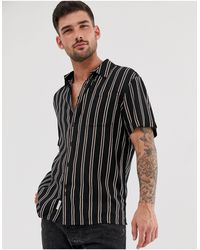 Bellfield Short Sleeved Stripe Shirt - Black