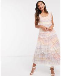 Needle & Thread - Платье Миди С Ярусными Разноцветными Оборками -мульти - Lyst