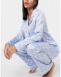 Chelsea Peers Pigiama con camicia a maniche lunghe e pantaloni con pois - Blu