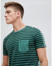 Abercrombie & Fitch - Garment Dyed Stripe Pocket T-shirt In Green - Lyst
