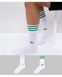 adidas Originals - Adicolor 2 Pack Crew Socks In Green Ce5713 - Lyst