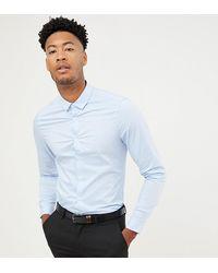 ASOS Tall - Elastisch Slim-fit Overhemd - Blauw