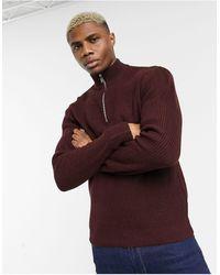 TOPMAN Knitted Half Zip Jumper - Red