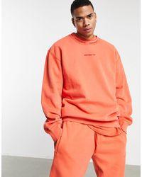 """adidas Originals - Окрашенный Свитшот В Рубчик Выгоревшего Оранжевого Цвета """"premium Sweats""""-оранжевый Цвет - Lyst"""