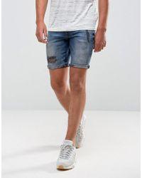 ASOS - Denim Shorts In Super Skinny Blue Black Wash With Rip And Repair - Lyst