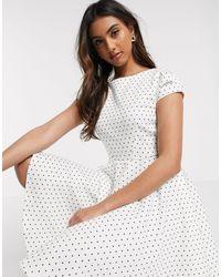 Closet Short Sleeve Skater Dress - White