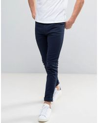 Farah Drake Slim Fit Jeans In Navy Twill - Blue