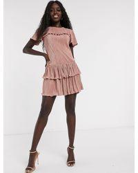 Miss Selfridge Розовое Плиссированное Платье Мини С Оборками -розовый