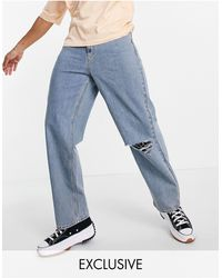 Collusion X014 90s baggy Jean With Rips - Blue