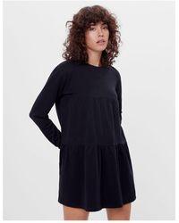 Bershka Long Sleeve Tiered T-shirt Smock Dress - Black