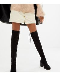 New Look Over-de-knie-laarzen Met Hak En Dikke Zolen - Zwart