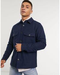 Calvin Klein - Темно-синяя Шерстяная Рубашка Навыпуск С Нагрудными Карманами -темно-синий - Lyst