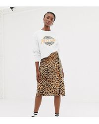New Look Animal Print Button Through Skirt In Leopard - Brown