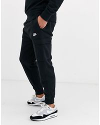 Nike Club Cuffed Fleece Track Pants - Black