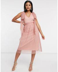 Little Mistress Розовое Приталенное Платье Миди С Завязками На Плечах -розовый