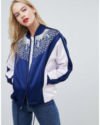 ASOS - Design Colourblock Embellished Bomber Jacket - Lyst