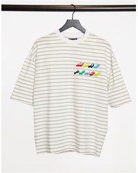 ASOS Серо-белая Oversized-футболка В Полоску С Вышивкой На Груди - Многоцветный