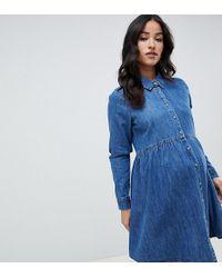 3973ddf0cbda0 ASOS - Asos Design Maternity Denim Smock Shirt Dress In Midwash Blue - Lyst