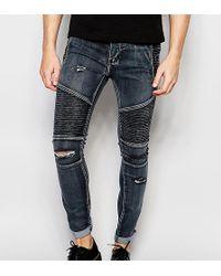 Liquor N Poker - Skinny Distressed Biker Jeans In Washed Black - Lyst