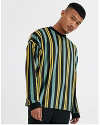 ASOS Oversized Long Sleeve Vertical Stripe T-shirt - Multicolor