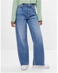 Bershka Pantaloni larghi anni '90 con fondo ampio blu