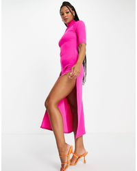 John Zack Exclusive High Neck Maxi Dress With Thigh Split - Pink