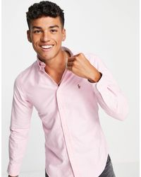 Polo Ralph Lauren Розовая Оксфордская Рубашка Узкого Кроя На Пуговицах С Логотипом -розовый Цвет