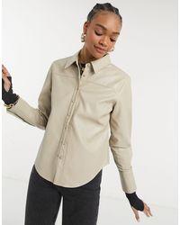 s t e e l e. Torri Vegan Friendly Leather Button Up Shirt - Brown
