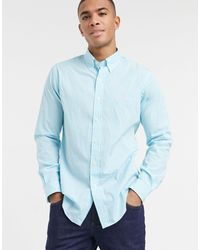 Polo Ralph Lauren Классическая Рубашка Бирюзово-белого Цвета Из Эластичного Поплина В Полоску С Логотипом И Пуговицами -голубой - Синий