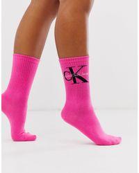 Calvin Klein Розовые Короткие Носки С Логотипом Jeans-розовый