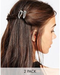 Kat&bee - Kat & George Two Pack Hair Grip With Skull And Chain - Lyst