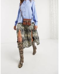 Object Pleated Midi Skirt - Multicolour