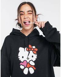 "New Girl Order - Худи В Стиле Oversized С Принтом ""hello Kitty"" X Hello Kitty-черный Цвет - Lyst"
