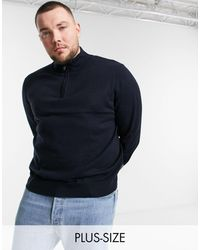 French Connection Plus Half Zip Pullover Sweater - Blue