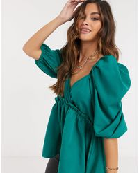 In The Style X Lorna Luxe Extreme Puff Sleeve Top - Green